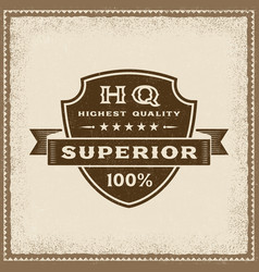 vintage highest quality superior label vector image