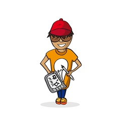 Profession graphic designer man cartoon figure vector