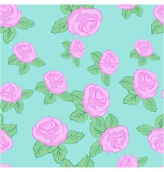 flower pink roses seamless pattern vector image