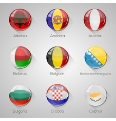 European flags set glossy buttons with vector