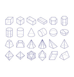 3d geometric shapes outline objects vector