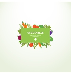 Label with fresh vegetables vector