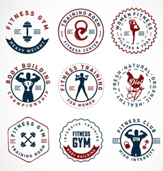 Sports fitness body building and yoga badges vector