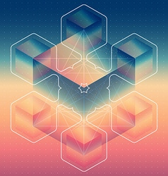 Abstract isometric cubes with the reflection of vector