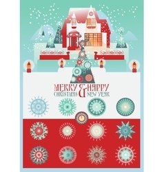 Christmas set with house and snowlakes vector
