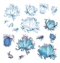 Lily flower design elements set vector