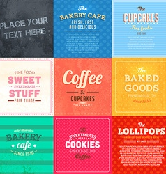 Retro bakery label sets vector