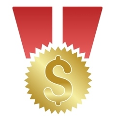 Dollar medal gradient icon vector