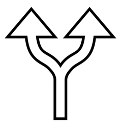 Split arrows up contour icon vector