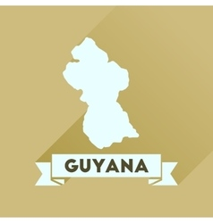 Flat icon with long shadow guyana map vector