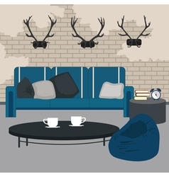 Modern interior living room in grunge style room vector