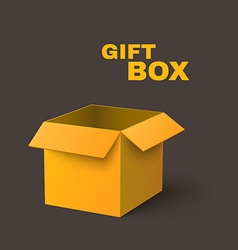 Open yellow box isolated on dark background vector