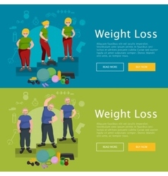 Before and after weight loss senior concept vector