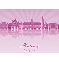 Antwerp skyline in purple radiant orchid vector