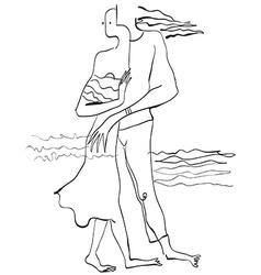 Art of Line Art - Lovers vector image