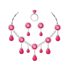 Beautiful jewelry accessories set vector