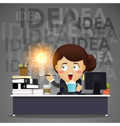 business woman working on computer with idea bulb vector image vector image