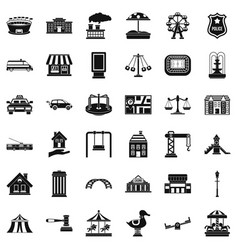 City element icons set simple style vector
