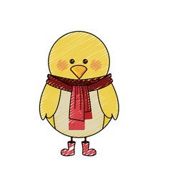 Color crayon stripe cartoon of chicken with scarf vector