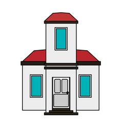 colorful image cartoon facade modern house style vector image vector image
