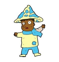 Comic cartoon magical mushroom man vector