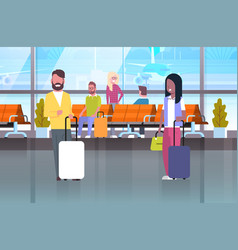 couple of travelers with suitcases at waiting hall vector image vector image