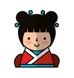 cute japanese doll icon vector image vector image