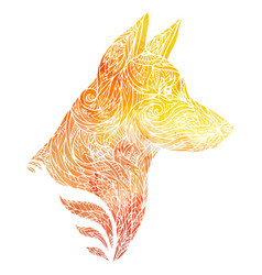 Doodle of a dog head with a tribal vector