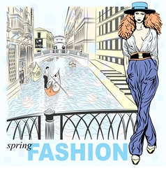 fashion girl venice vector image vector image