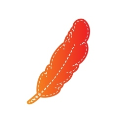 Feather sign orange applique vector