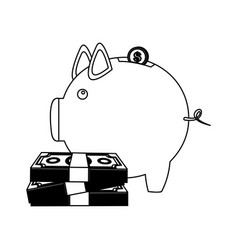 Figure pig save money housing vector