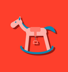 Flat icon design rocking horse in sticker style vector