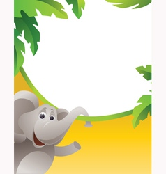 Frame with elephant vector image