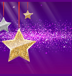 glitter background with silver and gold stars vector image vector image