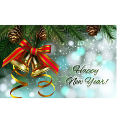 happy new year card with jingle bell vector image