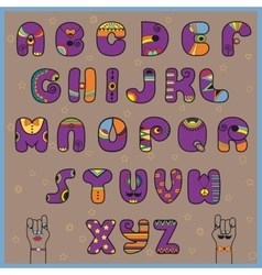 Hipster alphabet funny purple and orange letters vector