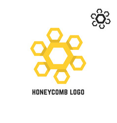 Honeycomb yellow logo like sun vector