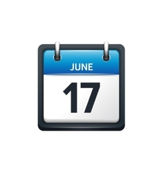 June 17 calendar icon flat vector