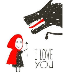 Little red riding presenting flower to black wolf vector