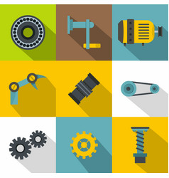 mechanical gear icon set flat style vector image vector image