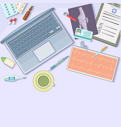 medicine concept workstation cartoon style vector image