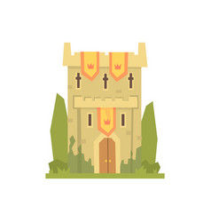 medieval stone fortress tower ancient vector image vector image
