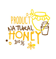Natural product honey 100 percent logo symbol vector