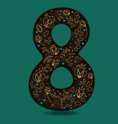 Number eight with retro golden floral decor vector