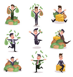 rich wealthy happy millionaire characters enjoying vector image vector image