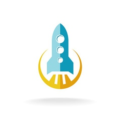 Rocket start flat style logo spaceship launch vector
