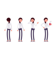 set of female clerk in standing poses rear front vector image