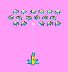 Space ship invaders shooting game vector