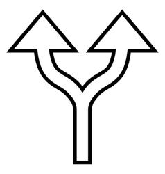 Split arrows up contour icon vector