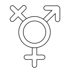 Transgender sign icon outline style vector image